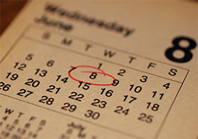 Appointment marked on calendar